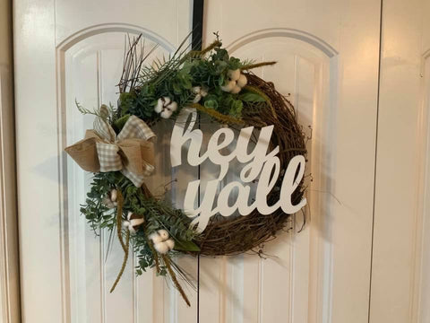 Cotton Rustic Wreath hey yall