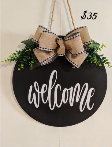 Welcome Fall Large Bow Door Hanger