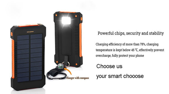 Solar Power Bank Waterproof 30000mAh Solar Charger 2 USB Ports External Charger Powerbank