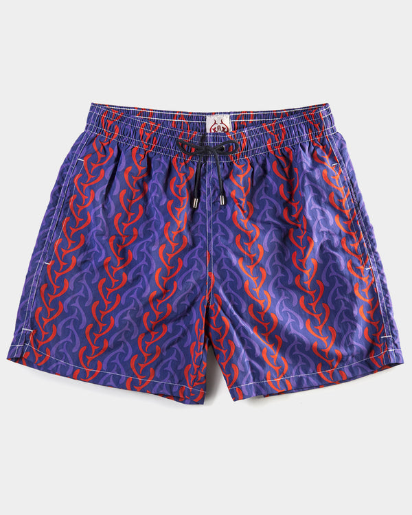 Men's Swimming Trunks - Single Tail Blue Red