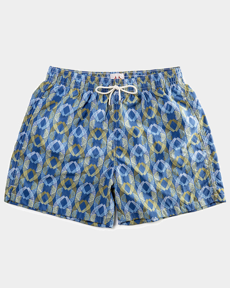 Men'S Swimming Trunks - Lace Tail Blue