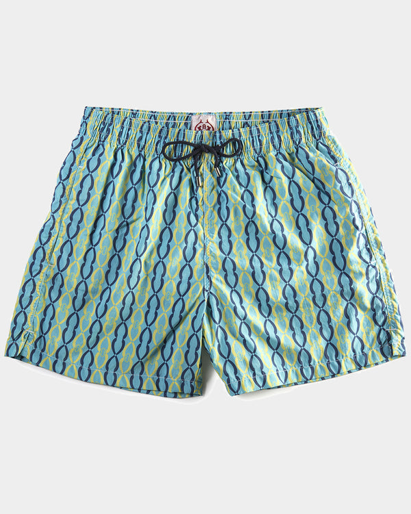 Men's Swimming Trunks - Simple Chain Blue