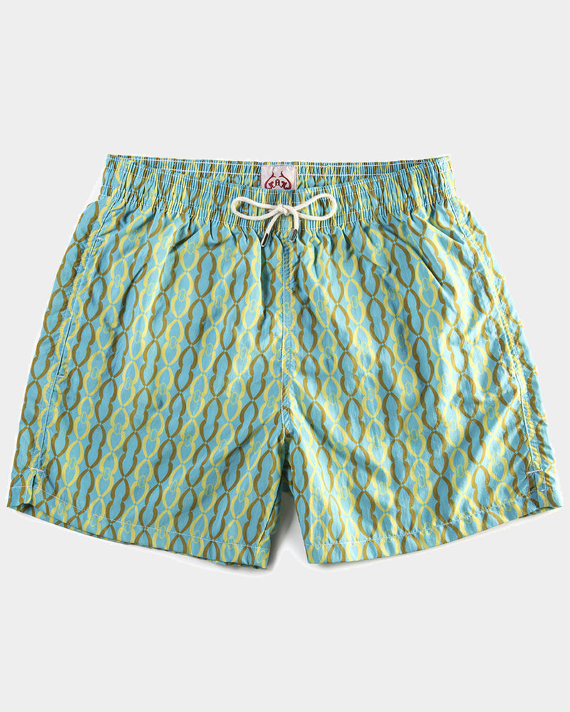 Men's Swimming Trunks - Simple Chain Yellow