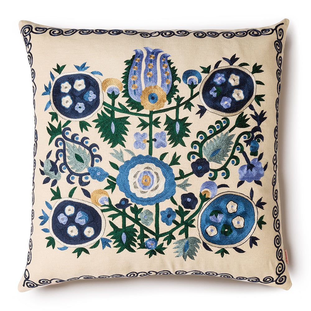 Pomegranate Square Pillow  Blue