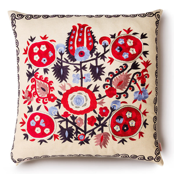 Pomegranade Square Silk Pillow Red