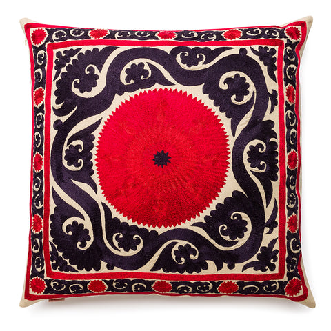 New Baroque Square Silk Pillow Red