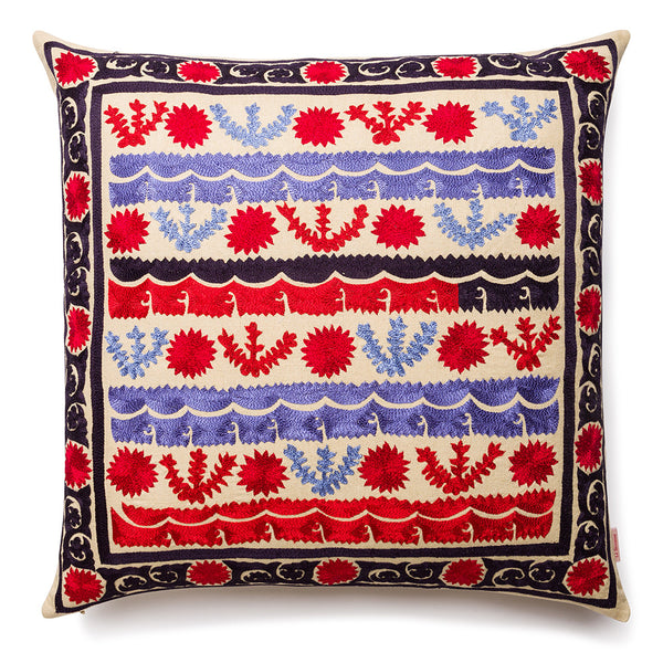 Stripes And Dots Square Silk Pillow Red