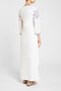 Vanessa Franco'S Long Caftan White Blue Emb