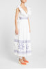 Frida Franco'S Dress White Blue Emb