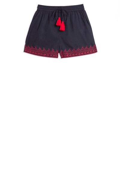 Milly Franco'S Shorts Blue Maroon Emb