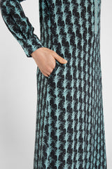Leila Caftan Little Palms Black