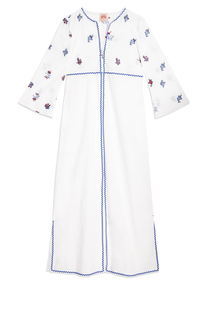 Chinese Embroidery Vanessa Long Caftan White