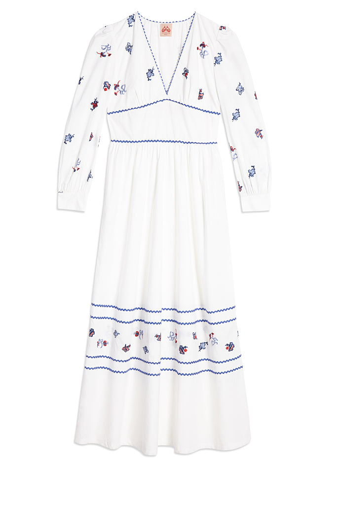 Chinese Embroidery Alessandra Dress White