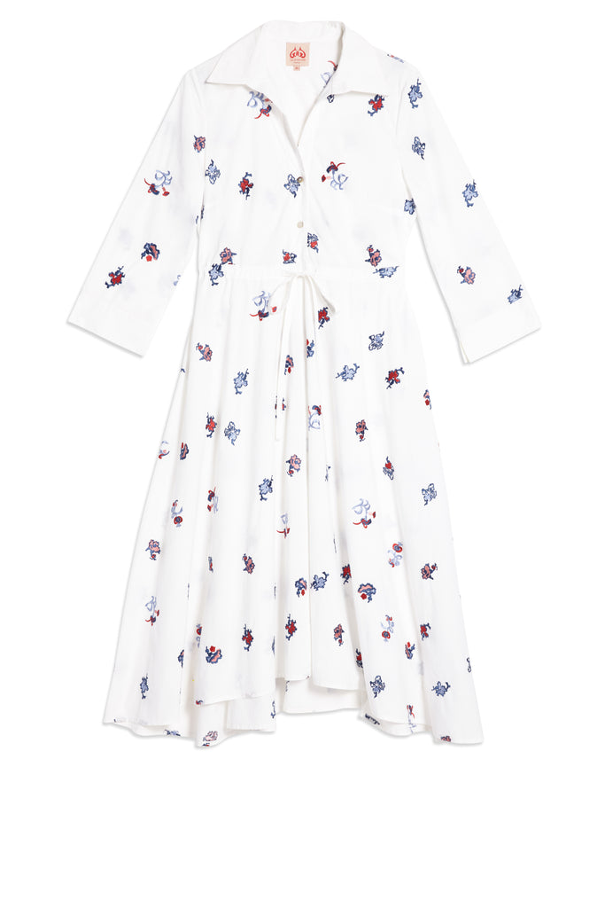 Chinese Embroidery Lucy Dress White