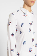 Chinese Embroidery Penny Shirt White
