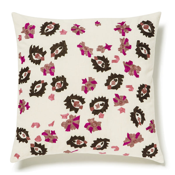 Square Cotton Pillow Case - Sparse Pink On White
