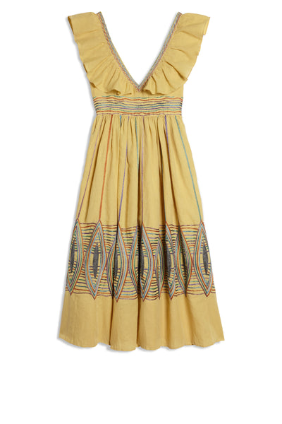 Lurex Lozenge Frida Dress Raw Mango