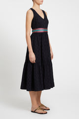 Evelin Positano Embroidery Dress Navy Blue