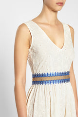 Evelin Positano Embroidery Dress Cream