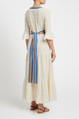 Bella Positano Embroidery Dress Cream