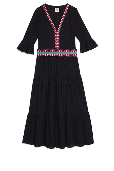 Bella Positano Embroidery Dress Navy Blue