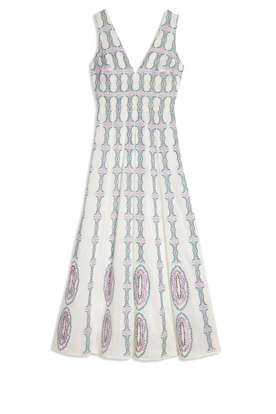 Nellie Dress Bubble Gum White