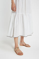 Flower Cheque Evelyn Skirt White