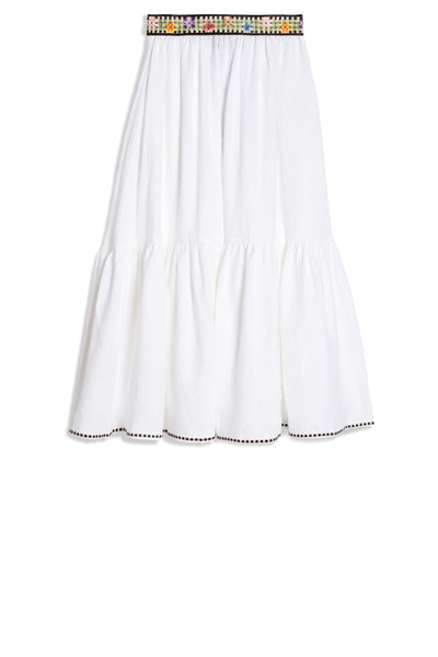 Flower Cheque Evelyne Skirt White
