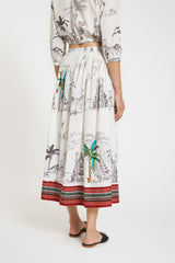 New Jane Skirt Prehistoric Positano White