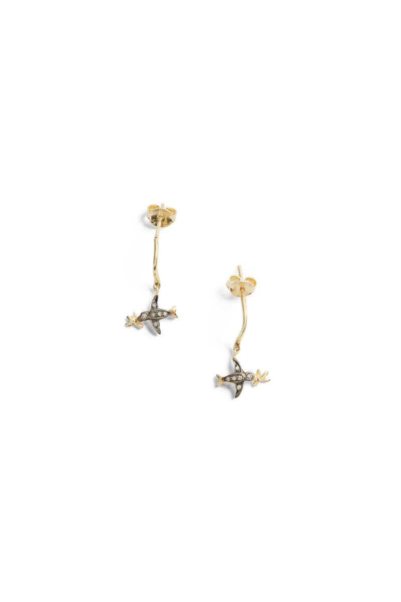 Bird G.  Earring Black Gold