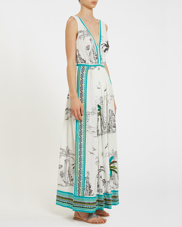 Sophia Dress Prehistoric Positano White