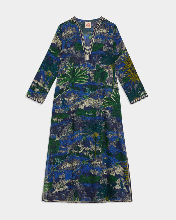 Giada Long Caftan Burning Sun Blue