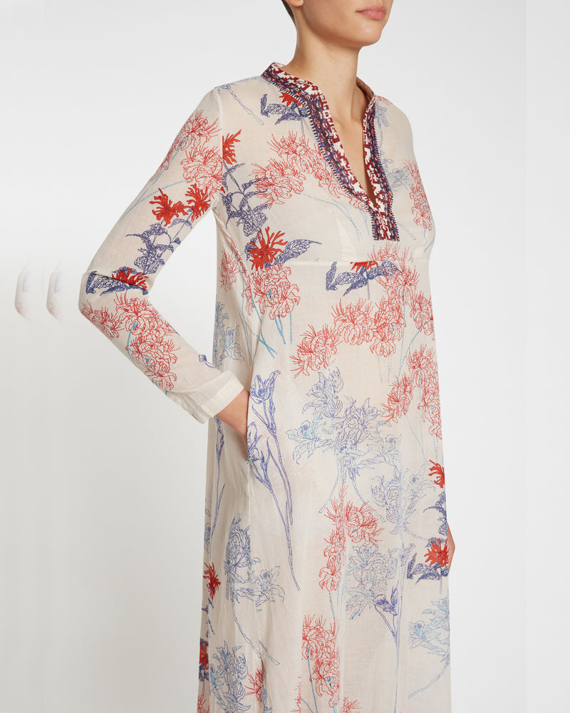 New Cappa Spring Flowers Long Caftan Blue