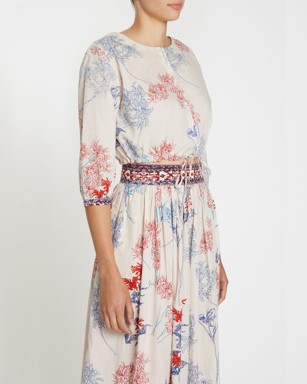Jinny Spring Flowers Top Blue