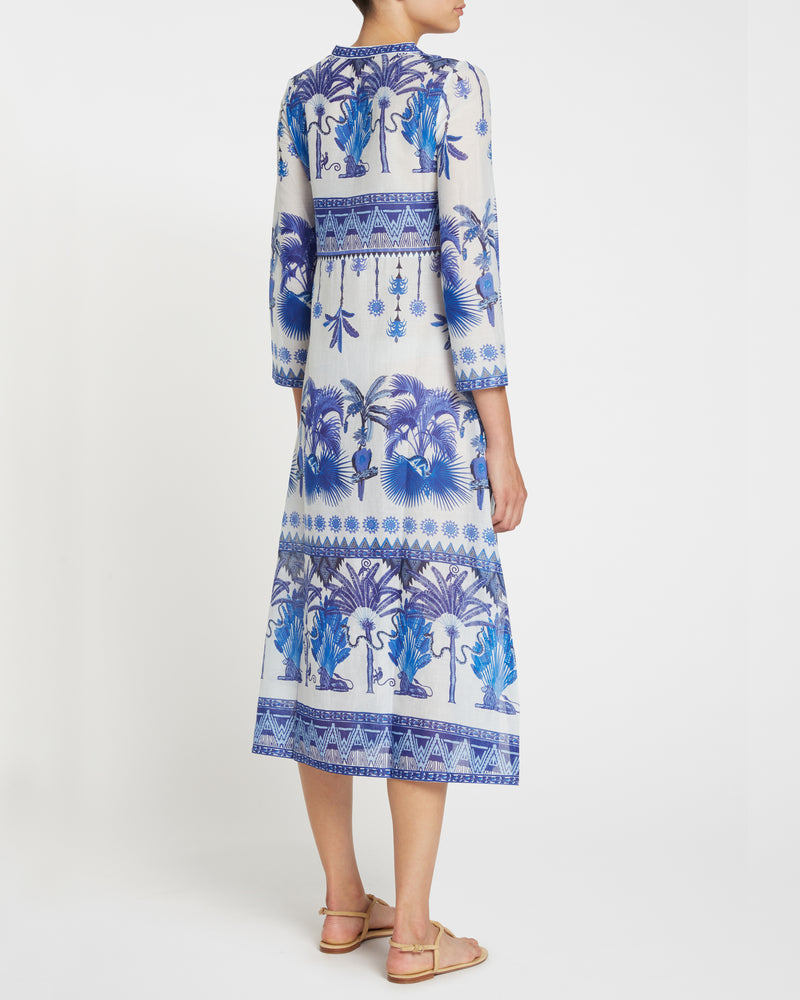 Giada Long Winter Garden Long Caftan Blue