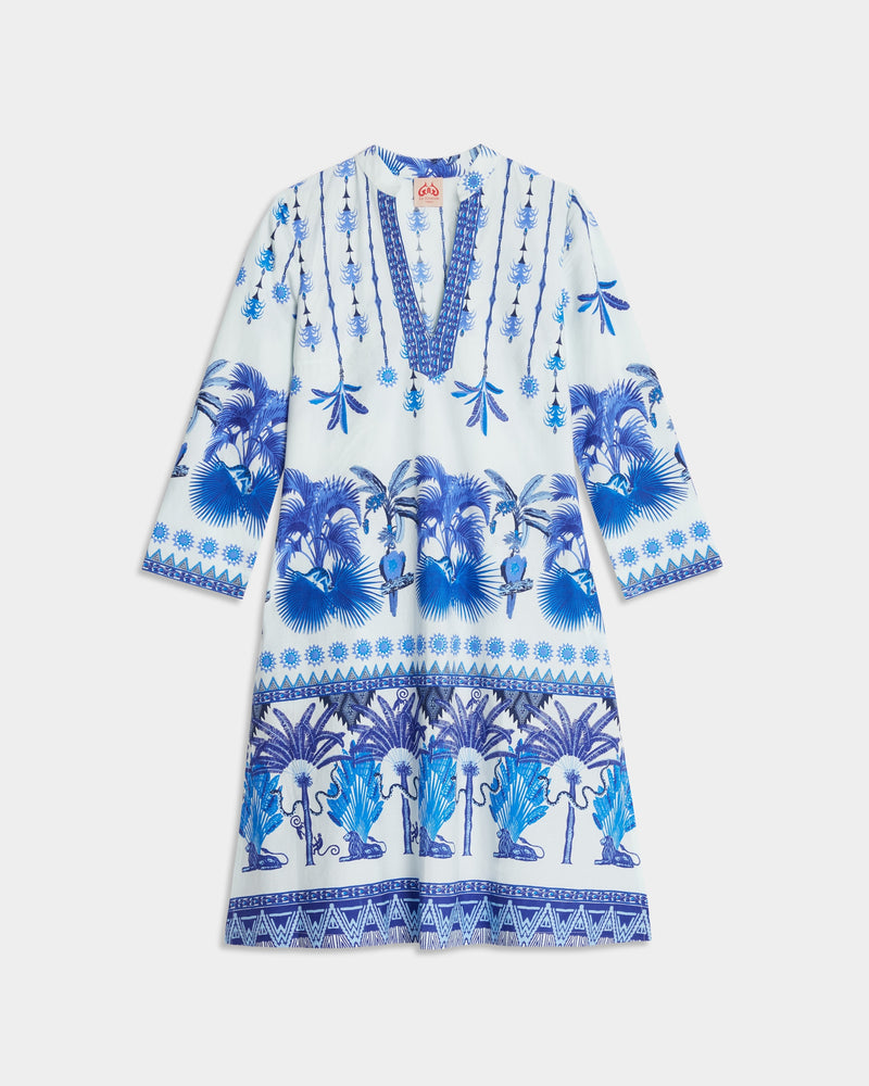 Malika Short Winter Garden Caftan Blue