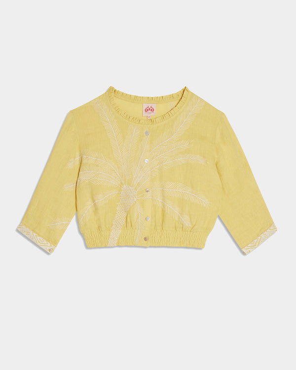 Rosei Palm Embroidery Top Raw Mango