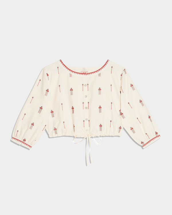 New Jinny Flower Embroidery Top Pink