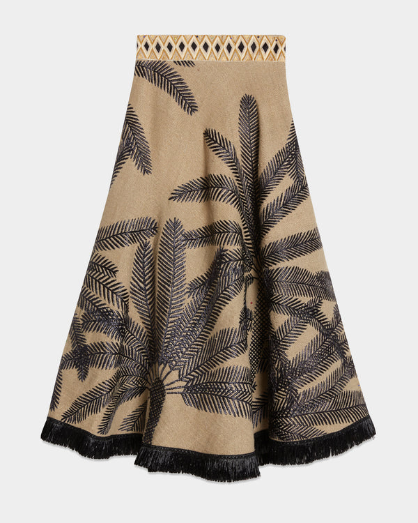 Livia Palm Embroidery Skirt Natural