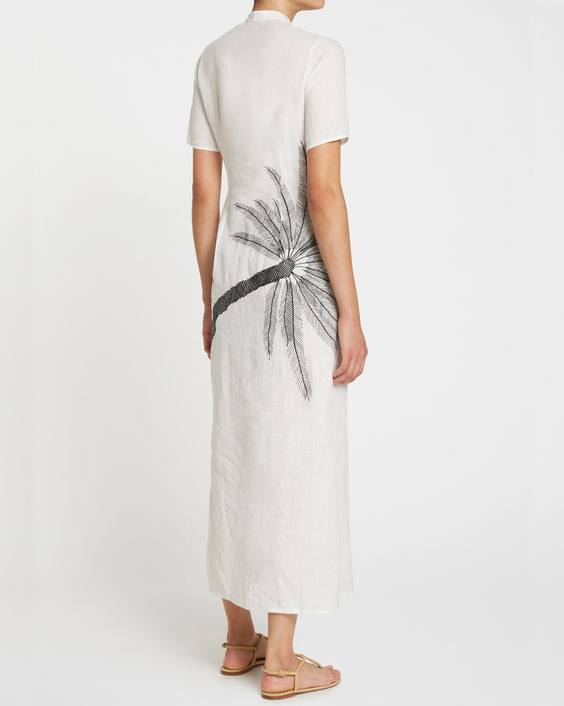 Fiona 3 Palm Embroidery Dress Ivory