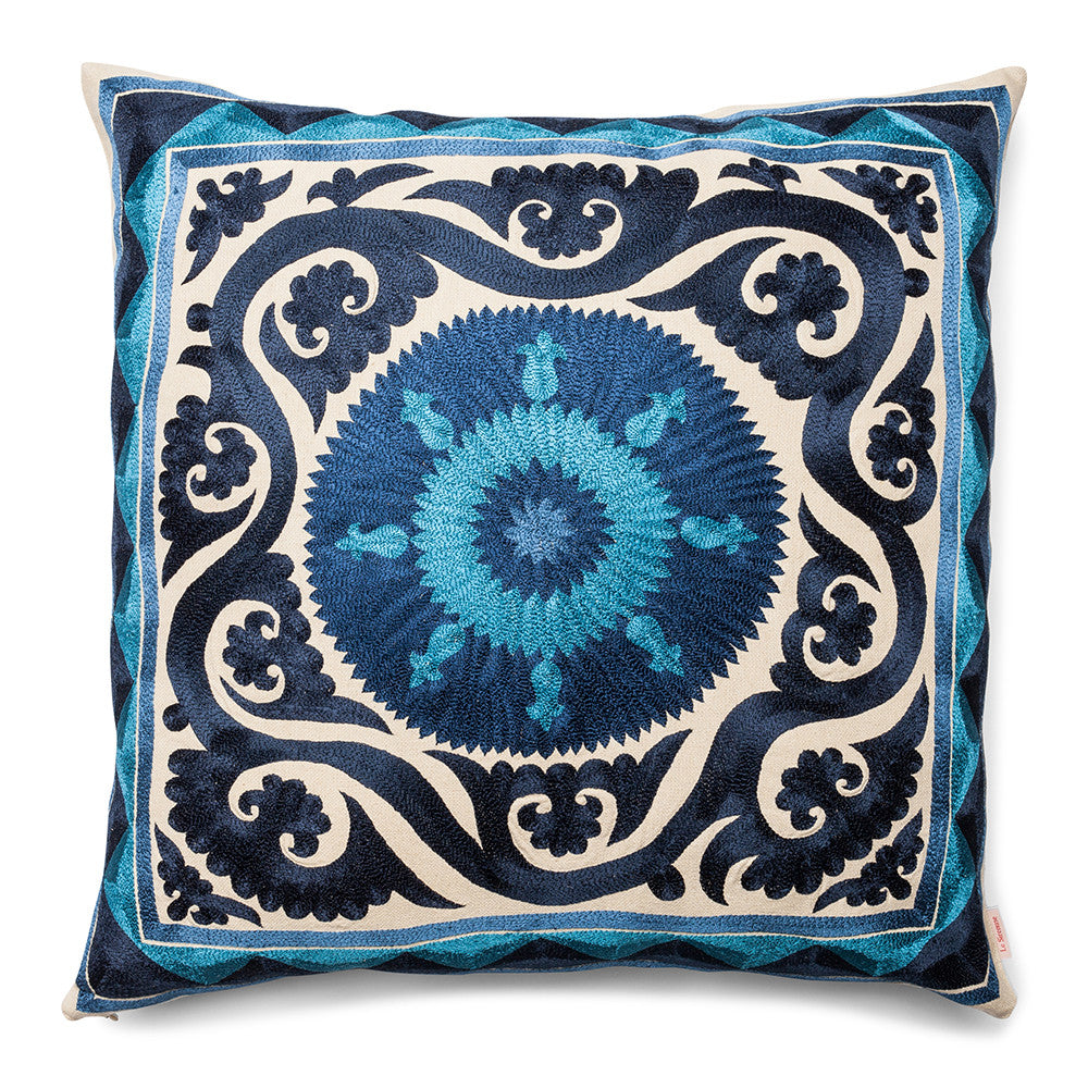 New Baroque Square Pillow  Blue