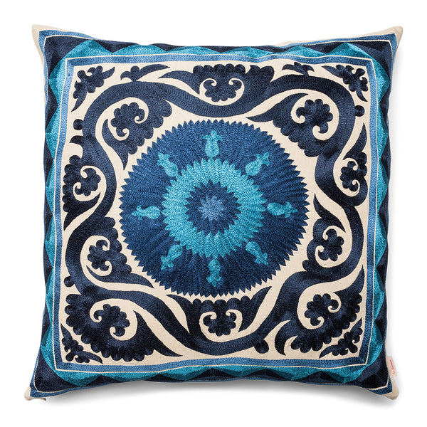 New Baroque Square Silk Pillow Blue