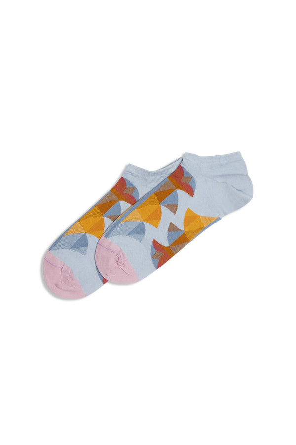 Tout L'Or Rayure Ankle Socks Ciel