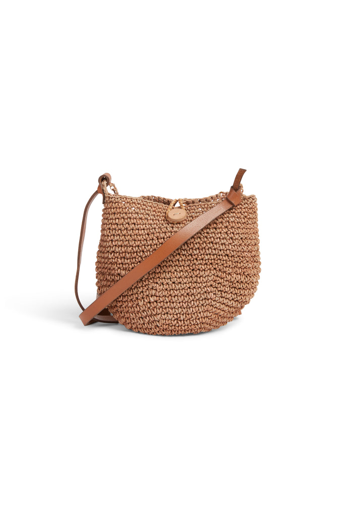 Crochet Crossbody Pompom Natural