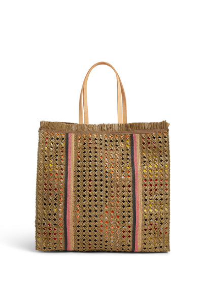 Raffia Shopping Bag J985  Kaki