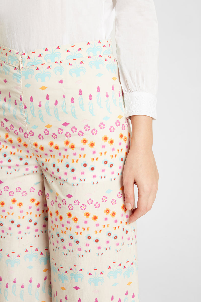 Natalie Little Flowers Pants Ecru