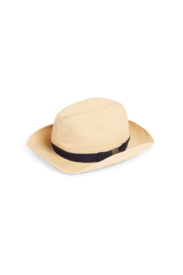 Boxed Hat 106 Light Beige Navy Gray