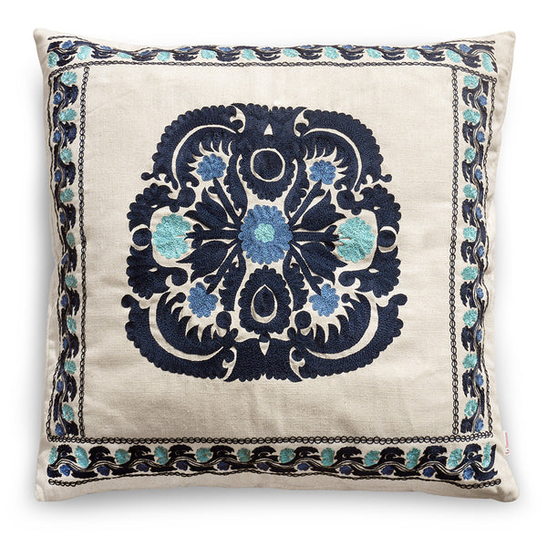 Romantique Square Pillow  Blue Green