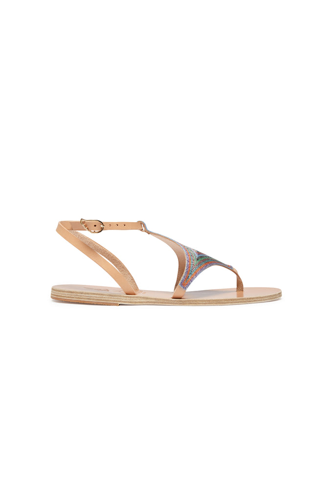 Ancient Greek Sandals X Le Sirenuse Lysi Lurex Embroidered Natural