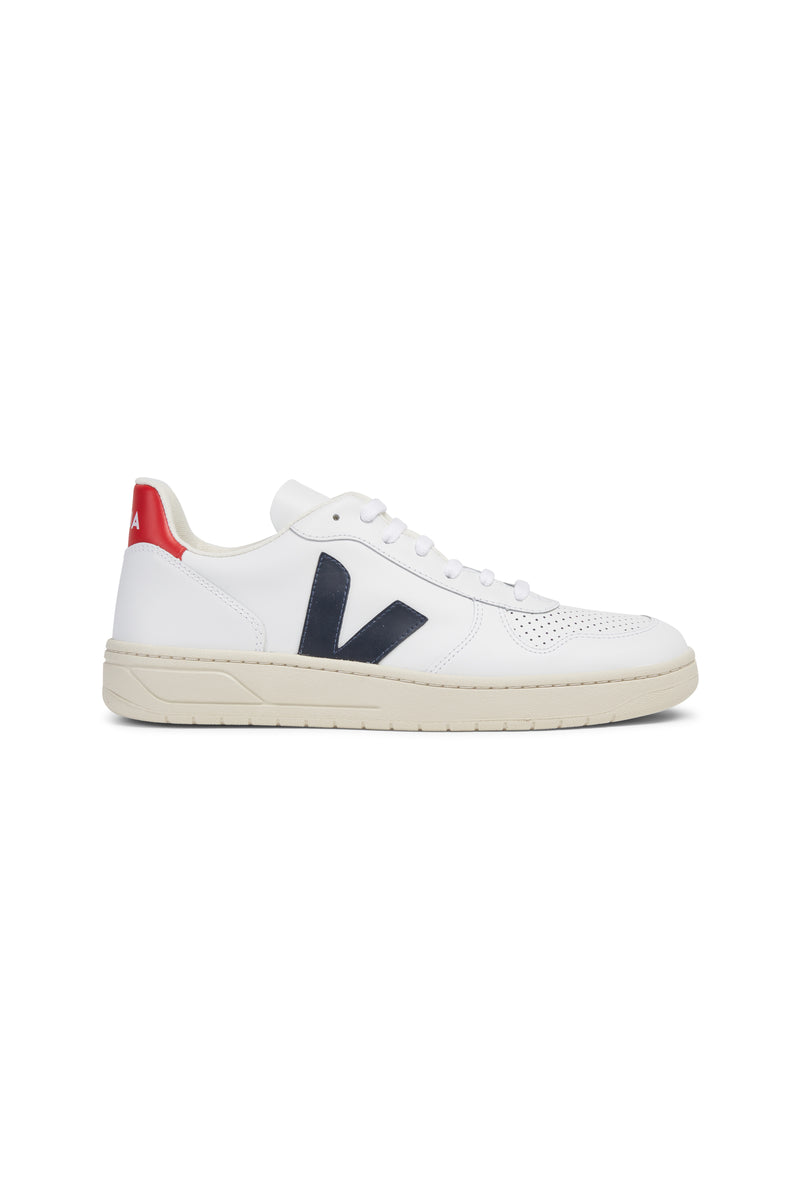 Men V-10 Leather White Navy
